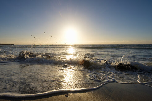 UK, Cornwall, unset over Sennen Cove Beach - SIEF07530