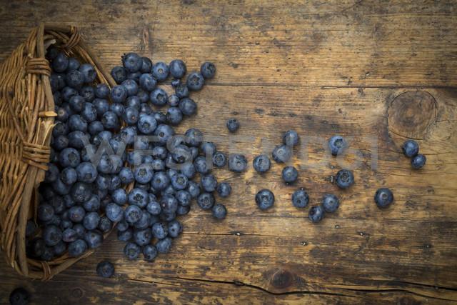Wickerbasker and blueberries on wood - LVF06278