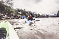 Germany, Bavaria, Allgaeu, kayakers on river Iller - PNPF00067