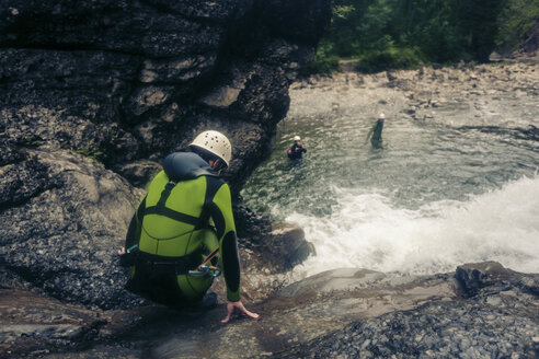 Germany, Bavaria, Allgaeu, canyoning in Ostertal - PNPF00088