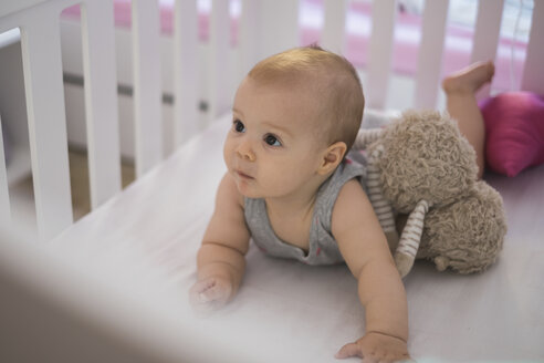 Cute baby girl lying in crib - MOMF00265