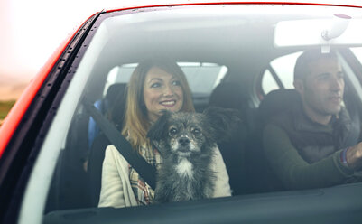 Happy couple with small dog in car - DAPF00810
