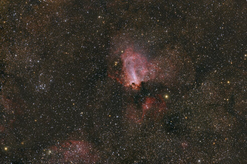 Namibia, Region Khomas, near Uhlenhorst, Astrophoto of diffuse emission and reflection nebula Omega Nebula with a telescope - THGF00015