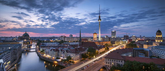 Germany, Berlin, elevated city view at morning twilight - SPPF00004