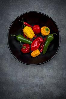Black bowl of various chili pods - LVF06313