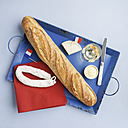 French snack with baguette , white wine, camembert and salami - ECF01923