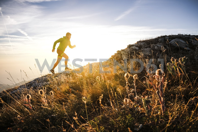 Italy, man running on mountain trail - SIPF01798 - Simona Pilolla/Westend61