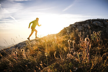 Italy, man running on mountain trail - SIPF01798