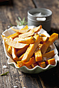 Sweet potato fries with rosmary and salt in porcelain bowl - CSF28324