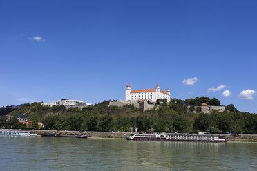 Slovakia, Bratislava, Danube River, Bratislava Castle on a hill - ABOF00270