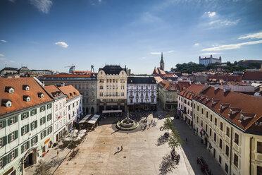 Slovakia, Bratislava, cityscape, Old Town, Main Square from above - ABOF00291