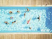 Top view of group of seniors in swimming pool - PNPF00106