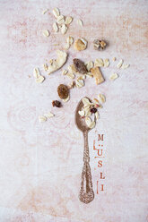 Stamped spoon and ornament with scattered granola - MYF01955