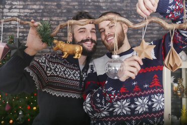 Gay couple decorating a branch at Christmas time - RTBF01033