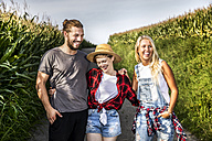 Happy friends on country lane at a cornfield - FMKF04572