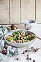 Platter of green salad with figs, Crema di Balsamico, honey hazelnuts and baked goat cheese - SBDF03319