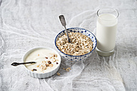 Bowls of granola, oat flakes and natural yoghurt and a glass of milk - MYF01960