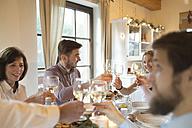 Family clinking glasses at Christmas dinner - HAPF02186