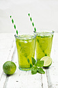 Two glasses of organic lime lemonade with basil - LVF06337