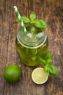 Glass of organic lime lemonade with basil - LVF06340