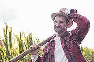 Portrait of confident farmer on field - UUF11904