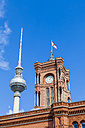 Germany, Berlin, view of television tower and Red City Hall - WDF04170
