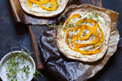 Tarte Flambee with soft goat cheese, pumpkin slices and fresh thyme - SBDF03330
