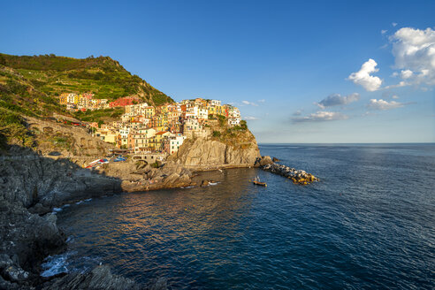 Italy, Liguria, Cinque Terre, Manarola in the evening - PUF00837