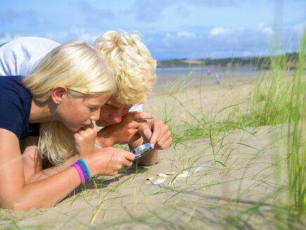 France, Bretagne, Sainte-Anne-la-Palud, La Plage de Treguer, brother and sister examining seashells on the beach - LAF01924