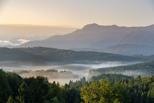 Germany, Bavaria, Upper Bavaria, Pfaffenwinkel, near Murnau, morning fog above Aidlinger Hoehe in front of Herzogstand - LBF01690