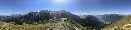 Italy, Trentino, Rendena valley, Panorama view from Doss del Sabion peak - LOMF00633