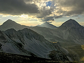 Italy, Abruzzo, Gran Sasso, Sunset on Mt Portella - LOMF00641