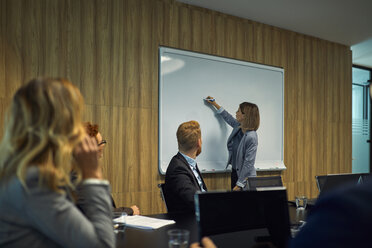 Business people looking at businesswoman writing on whiteboard - ZEDF00912