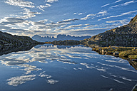 Italy, Trentino, Rendena Valley, Lake Nero and Brenta mountain range at sunrise - LOMF00658
