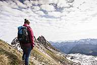 Germany, Bavaria, Oberstdorf, hiker in alpine scenery - UUF12120
