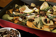 Preparing vegan oven vegetables with pumpkin and pears - CSTF01408