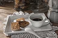 Cup of espresso and sesame almond brittle - CSTF01434