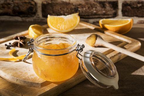 Preserving jar of homemade orange marmalade - CSTF01440