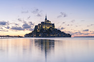 France, Normandy, view to lighted Mont Saint-Michel in the evening - RPSF00006