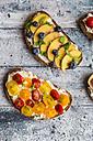Various sandwiches, nectarine, blueberry, tomato - SARF03403