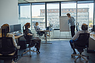 Man leading a presentation at flip chart in office - ZEDF00930