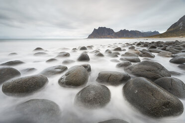 Norway, Lofoten, Vareid, Flakstad, Utakleiv, stones at beach - RPSF00058