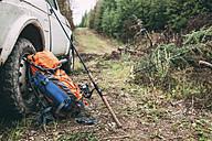 Fishing equipmnt at car in rural landscape - VPIF00258