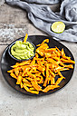 Homemade sweet potato fries and bowl of Guacamole - SARF03409