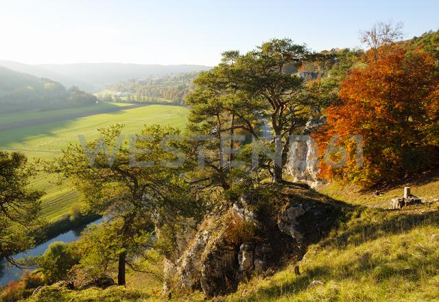 Germany, Bavaria, Franconia, Central Franconia, Altmuehl Valley, near Solnhofen, Rock formation Twelve Apostles, Altmuehl river in autumn - SIEF07574 - Martin Siepmann/Westend61