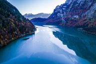 Switzerland, Canton of Glarus, Kloen Valley, Aerial view of Lake Kloentalersee - STSF01354