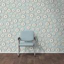 Wallpaper with doughnut pattern, single chair and wooden floor, 3D Rendering - UWF01296