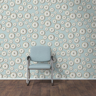 Wallpaper with doughnut pattern, single chair and wooden floor, 3D Rendering - UWF01296