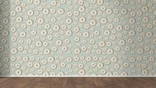 Wallpaper with doughnut pattern and wooden floor, 3D Rendering - UWF01299