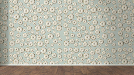 Wallpaper with doughnut pattern and wooden floor, 3D Rendering - UWF01299